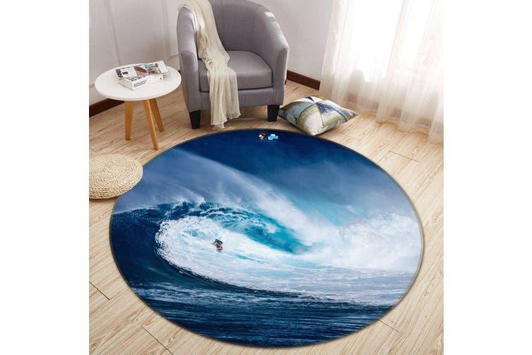 3D Fierce Surf 132 Round Non Slip Rug Mat, 160cm(63'')