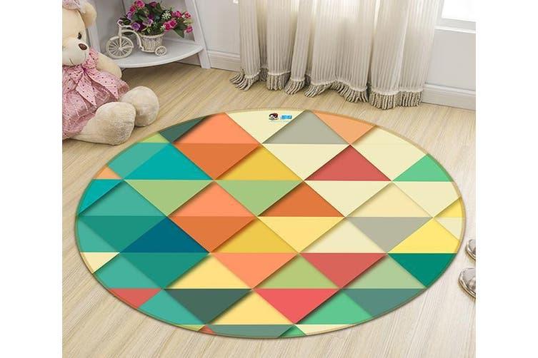 3D Dark Triangle 130 Round Non Slip Rug Mat, 120cm(47.2'')