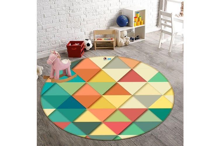 3D Dark Triangle 130 Round Non Slip Rug Mat, 180cm(70.9'')