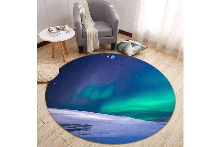 3D Aurora Snow 129 Round Non Slip Rug Mat, 100cm(39.4'')