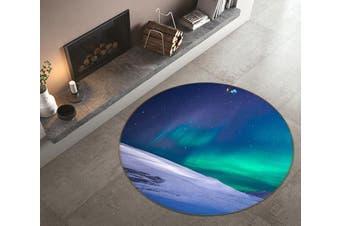 3D Aurora Snow 129 Round Non Slip Rug Mat, 200cm(78.7'')