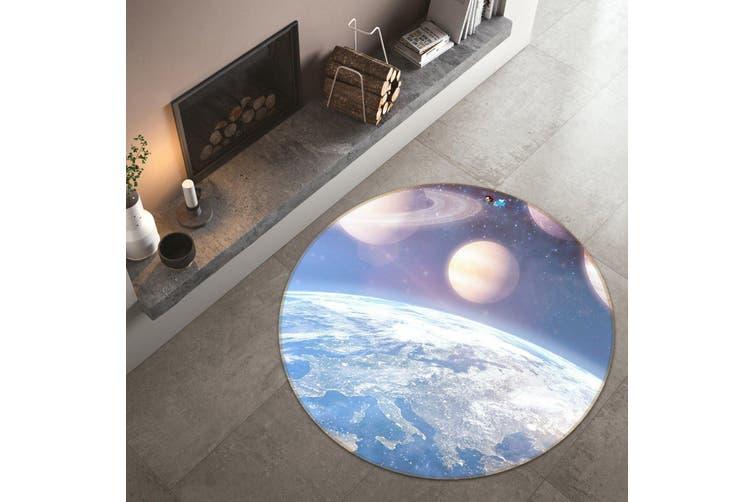 3D Earth Moon 128 Round Non Slip Rug Mat, 100cm(39.4'')