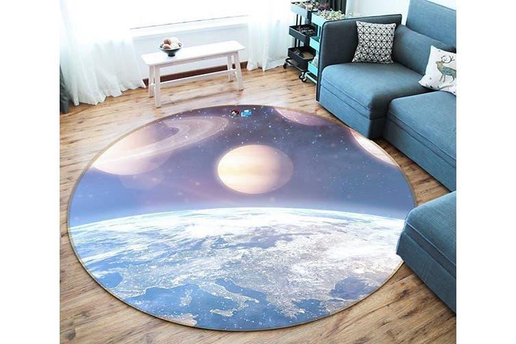3D Earth Moon 128 Round Non Slip Rug Mat, 180cm(70.9'')