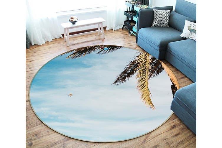 3D Coconut Leaf 126 Round Non Slip Rug Mat, 100cm(39.4'')
