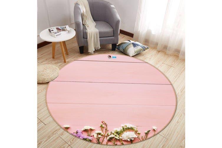 3D Powder Wall Flower 125 Round Non Slip Rug Mat, 100cm(39.4'')