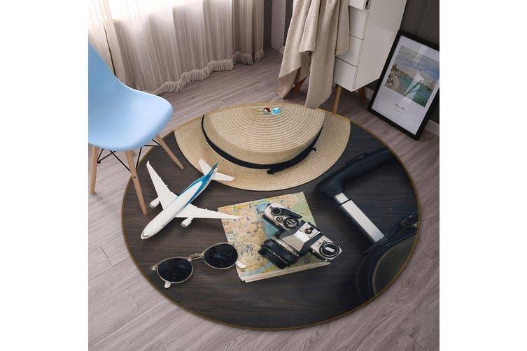 3D Aircraft Hat 124 Round Non Slip Rug Mat, 60cm(23.6'')