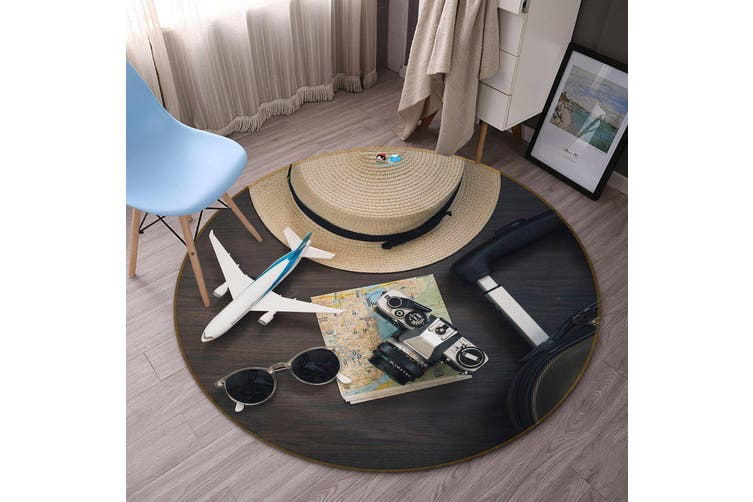3D Aircraft Hat 124 Round Non Slip Rug Mat, 100cm(39.4'')