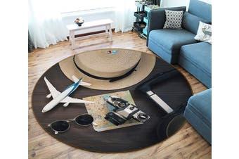 3D Aircraft Hat 124 Round Non Slip Rug Mat, 120cm(47.2'')