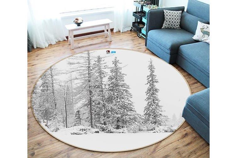 3D Snow Tree 123 Round Non Slip Rug Mat, 120cm(47.2'')