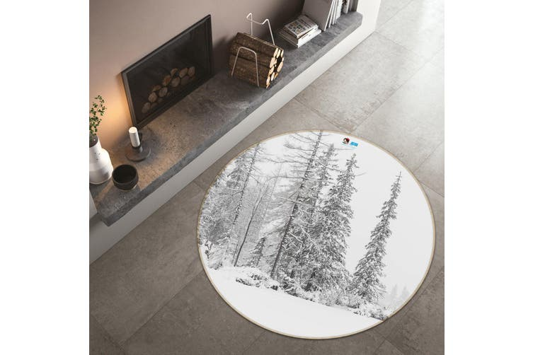 3D Snow Tree 123 Round Non Slip Rug Mat, 180cm(70.9'')