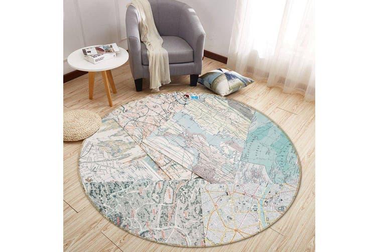 3D Map Paper 122 Round Non Slip Rug Mat, 100cm(39.4'')