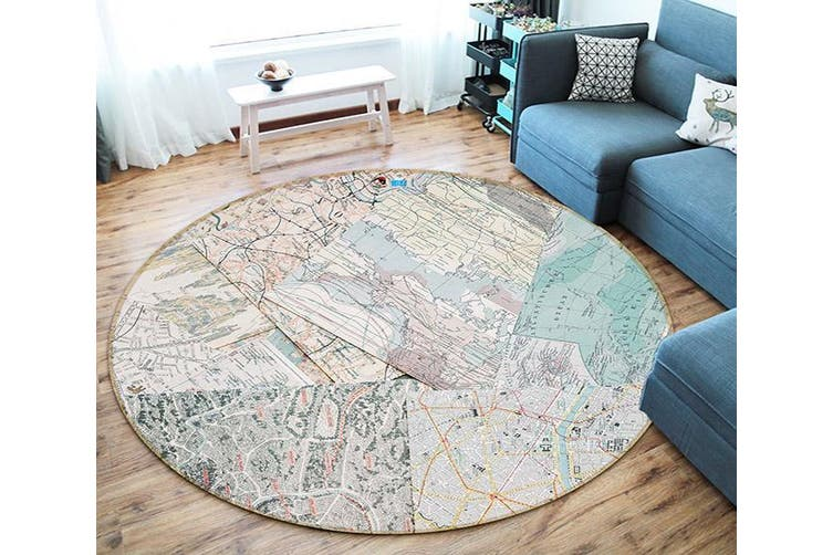 3D Map Paper 122 Round Non Slip Rug Mat, 120cm(47.2'')
