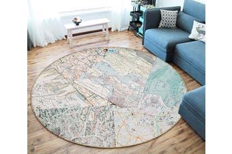3D Map Paper 122 Round Non Slip Rug Mat, 200cm(78.7'')