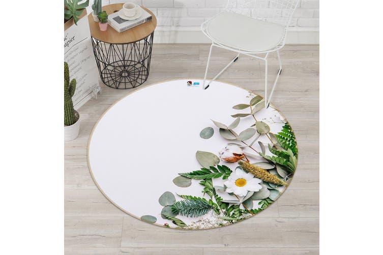 3D Chrysanthemum Place 121 Round Non Slip Rug Mat, 100cm(39.4'')