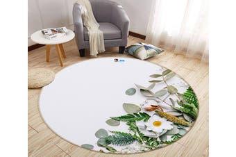 3D Chrysanthemum Place 121 Round Non Slip Rug Mat, 120cm(47.2'')