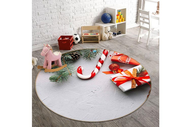 3D Gift Box Candy 120 Round Non Slip Rug Mat, 100cm(39.4'')