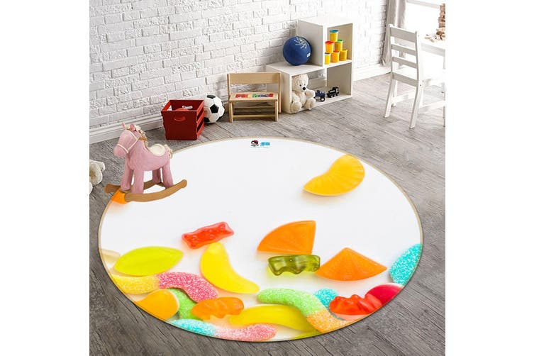 3D Colorful Candy 118 Round Non Slip Rug Mat, 100cm(39.4'')