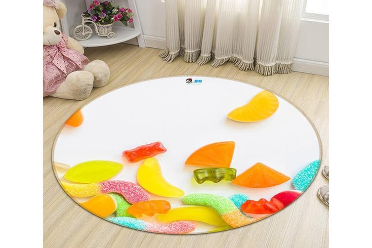 3D Colorful Candy 118 Round Non Slip Rug Mat, 120cm(47.2'')