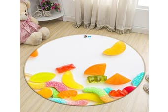 3D Colorful Candy 118 Round Non Slip Rug Mat, 200cm(78.7'')