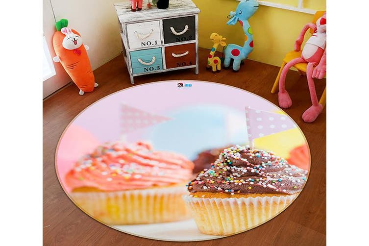 3D Small Cake 117 Round Non Slip Rug Mat, 100cm(39.4'')