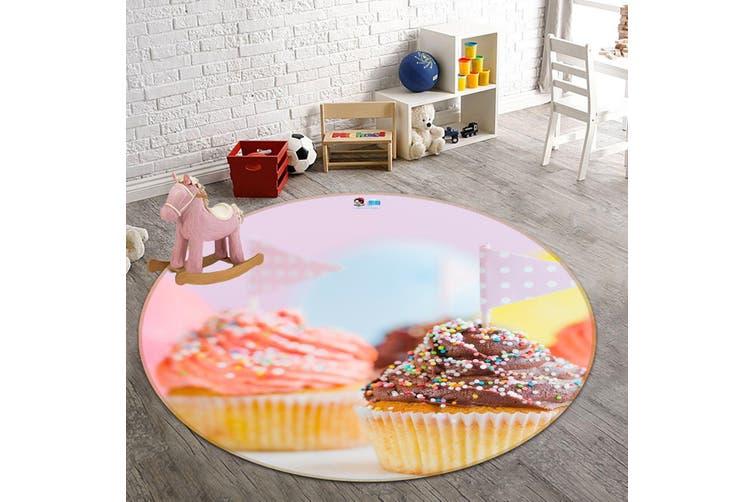 3D Small Cake 117 Round Non Slip Rug Mat, 160cm(63'')