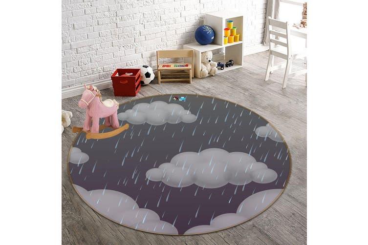 3D Dark Clouds 115 Round Non Slip Rug Mat, 160cm(63'')