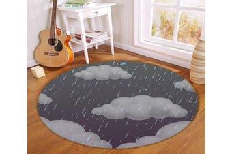 3D Dark Clouds 115 Round Non Slip Rug Mat, 200cm(78.7'')