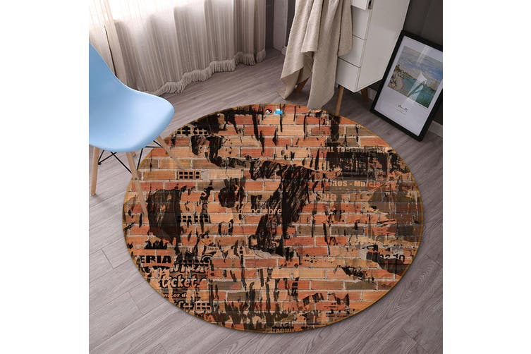 3D Wall Painting 114 Round Non Slip Rug Mat, 60cm(23.6'')