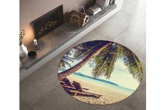 3D Beach Lounger 113 Round Non Slip Rug Mat, 100cm(39.4'')