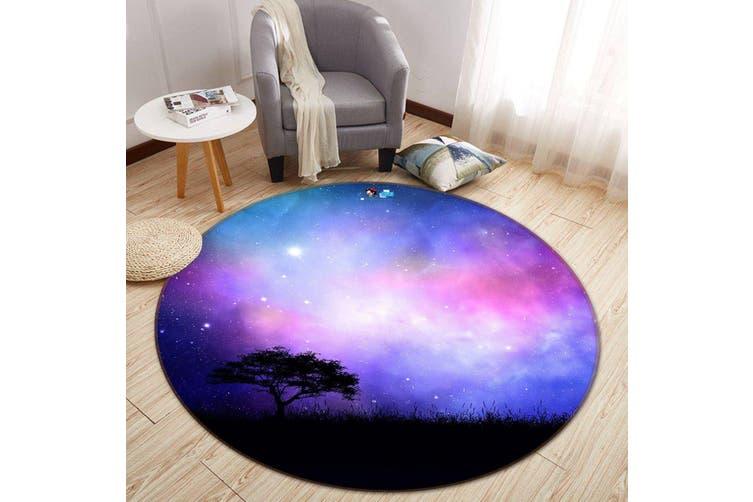 3D Starry Sky Tree 112 Round Non Slip Rug Mat, 100cm(39.4'')