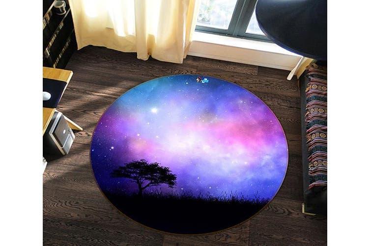 3D Starry Sky Tree 112 Round Non Slip Rug Mat, 120cm(47.2'')