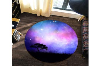 3D Starry Sky Tree 112 Round Non Slip Rug Mat, 200cm(78.7'')