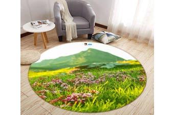3D Lawn Mountain 110 Round Non Slip Rug Mat, 60cm(23.6'')
