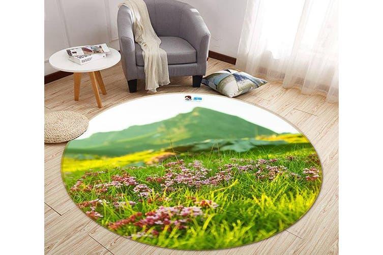 3D Lawn Mountain 110 Round Non Slip Rug Mat, 180cm(70.9'')