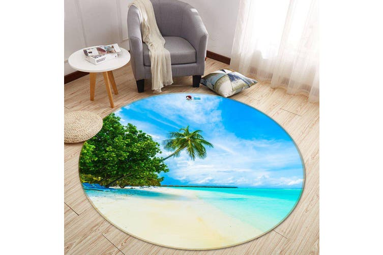 3D Coconut Beach 109 Round Non Slip Rug Mat, 60cm(23.6'')