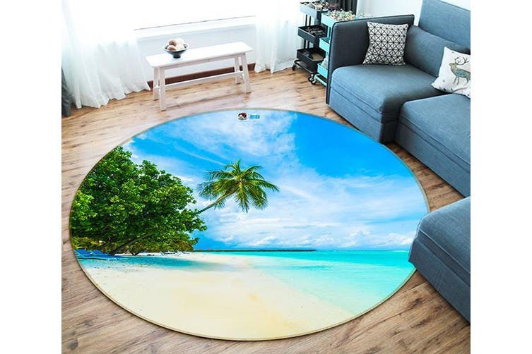 3D Coconut Beach 109 Round Non Slip Rug Mat, 180cm(70.9'')