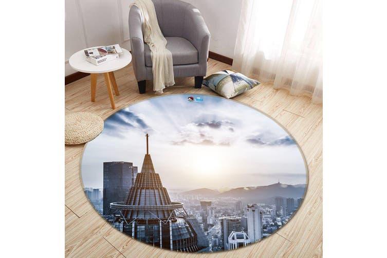 3D Sunshine Building 107 Round Non Slip Rug Mat, 120cm(47.2'')