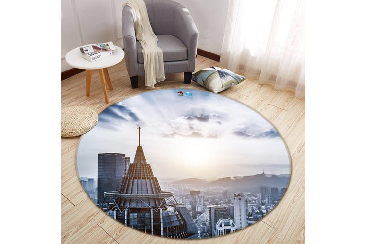 3D Sunshine Building 107 Round Non Slip Rug Mat, 160cm(63'')