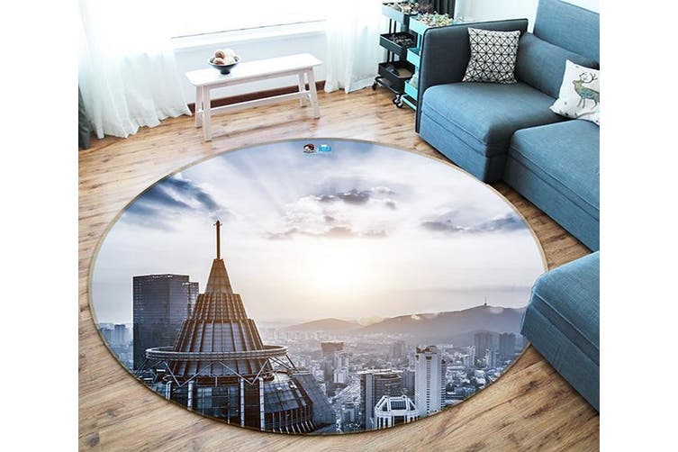 3D Sunshine Building 107 Round Non Slip Rug Mat, 180cm(70.9'')