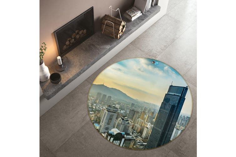 3D High-Rise Building 105 Round Non Slip Rug Mat, 100cm(39.4'')