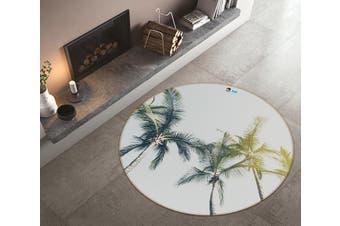 3D Coconut Tree 103 Round Non Slip Rug Mat, 180cm(70.9'')