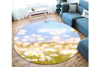 3D Chrysanthemum Field 100 Round Non Slip Rug Mat, 60cm(23.6'')