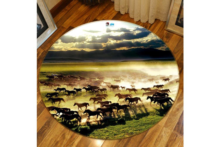 3D Horse Group 016 Round Non Slip Rug Mat, 60cm(23.6'')