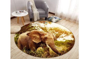 3D Long Nose Elephant 011 Round Non Slip Rug Mat, 200cm(78.7'')