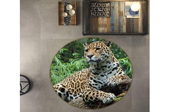 3D Leopard Resting 010 Round Non Slip Rug Mat, 100cm(39.4'')