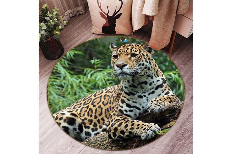 3D Leopard Resting 010 Round Non Slip Rug Mat, 200cm(78.7'')