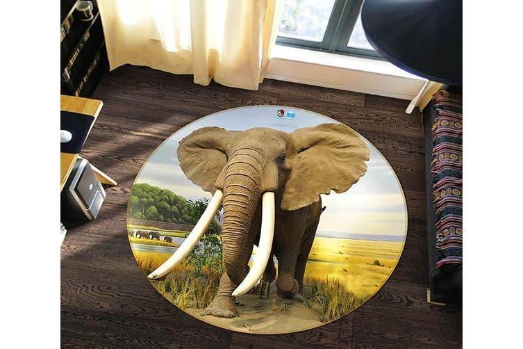 3D Elephant Ivory 008 Round Non Slip Rug Mat, 100cm(39.4'')