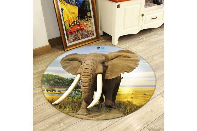 3D Elephant Ivory 008 Round Non Slip Rug Mat, 200cm(78.7'')