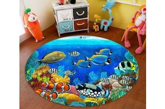 3D Deep Sea Fish 007 Round Non Slip Rug Mat, 120cm(47.2'')
