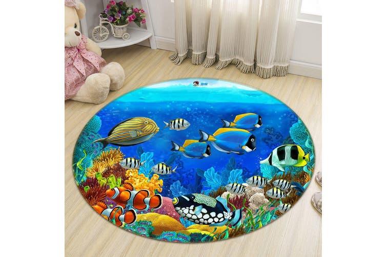 3D Deep Sea Fish 007 Round Non Slip Rug Mat, 180cm(70.9'')